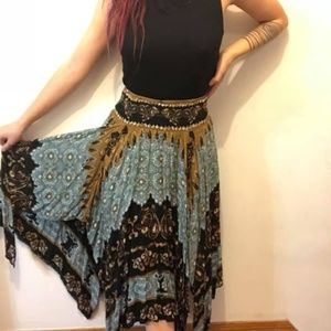 Free People Blue and Black Scarf Skirt